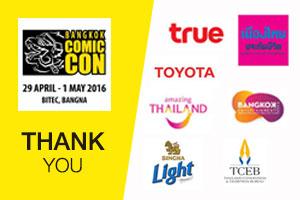 """ผู้สนับสนุน """"Bangkok Comic Con 2016"""""""