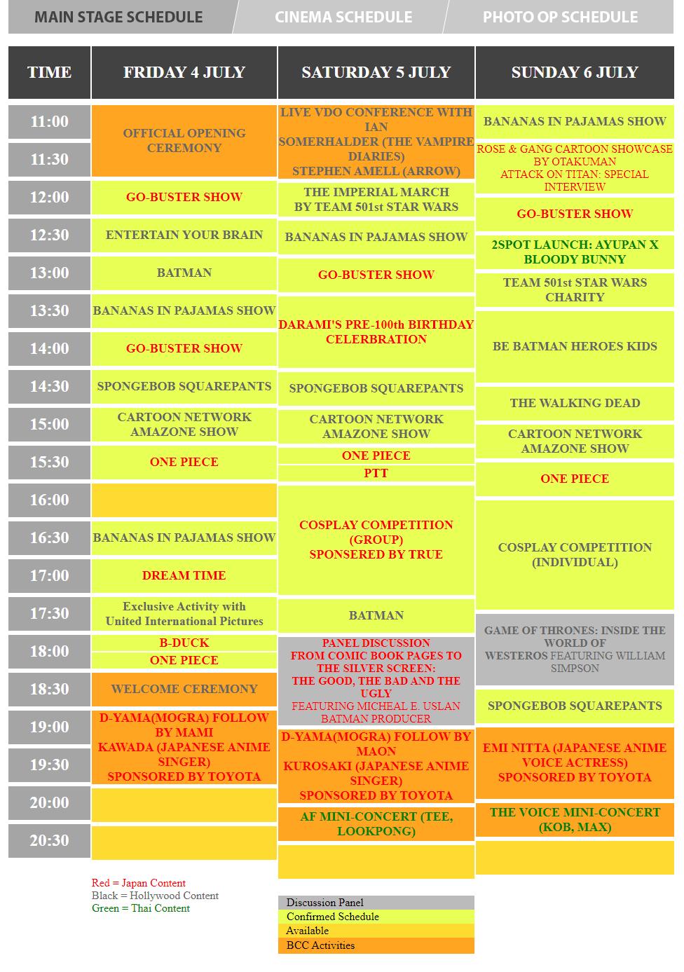Bangkok Comic Con - schedule